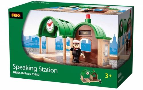 Brio  houten trein accessoire Station met geluid 33580-3