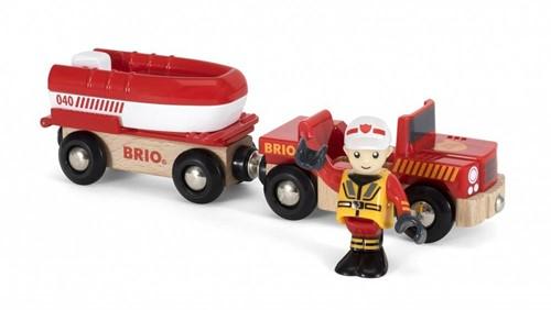Brio  houten trein accessoire Rescue Fire Boat-1