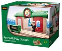 Brio  houten trein gebouw Station met geluid opname 33578-2