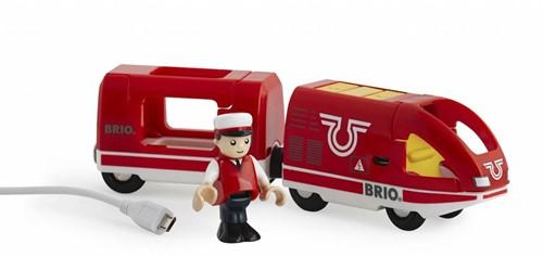 BRIO trein Oplaadbare rode passagierstrein met USB kabel 33746-1