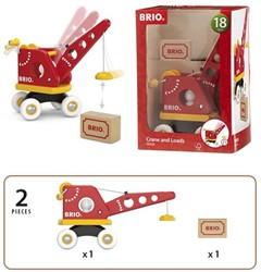 Brio  houten speelvoertuig Houten hijskraan met lading