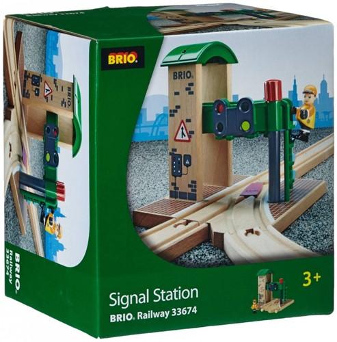Brio  houten trein gebouw Seinstation 33674-3