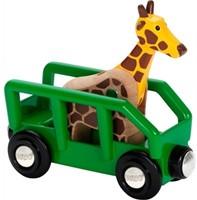 Brio  houten treinwagon Safari wagon met giraffe 33724-1