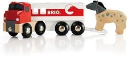 Brio  houten trein accessoire vrachtauto met paardentrailer 33405