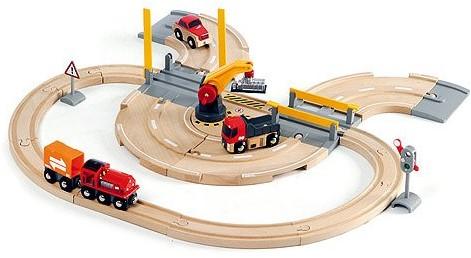 Brio  houten trein set Rail & road kraanset 33208-1