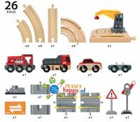 Brio  houten trein set Rail & road kraanset 33208-2