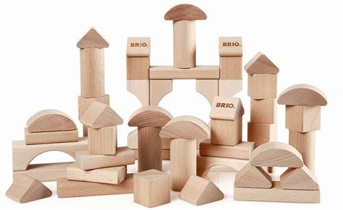 Brio  houten bouwblokken 50 blank 30113-1